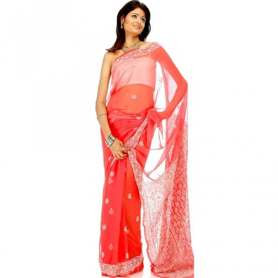 Red Lukhnavi Chikan Sari with All-Over Bootis