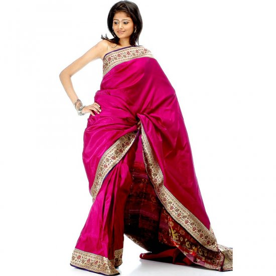 Purple Satin Valkalam Sari with Floral Brocaded Border and Pallu