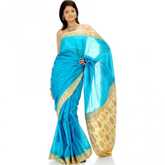 Plain Turquoise Tussar Sari with Banarasi Brocade on Border and Pallu