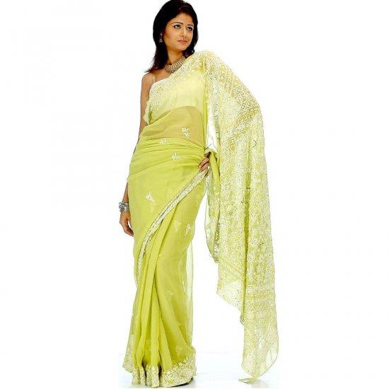 Pear-Green Lukhnavi Chikan Sari with Sequins