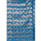 Hand-Woven Paisley Azure Silk Brocade from Banaras