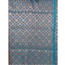 Banarasi Turquoise Floral Brocade Woven by Hand