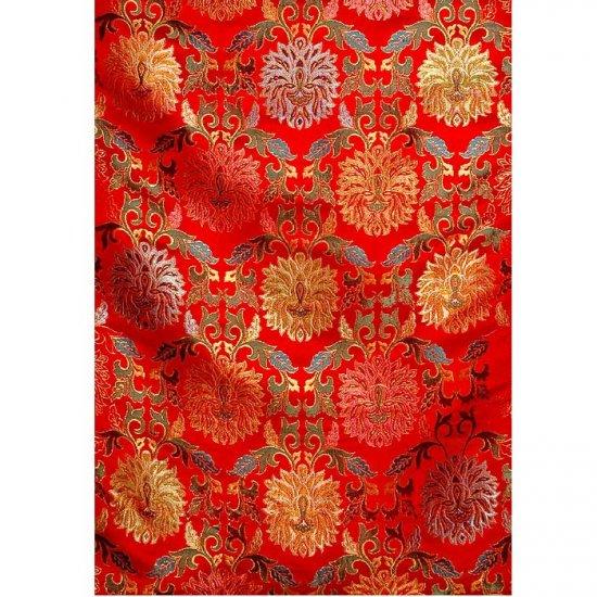 Cerise-Red Tibetan Floral Brocade Cardinal Fabric