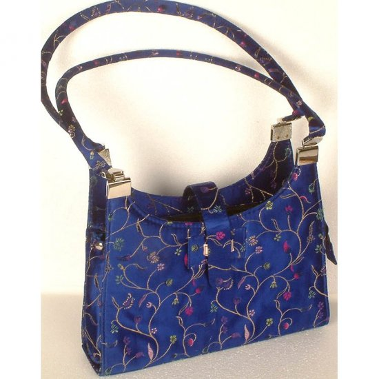 Royal Blue Banarasi Brocaded Handbag