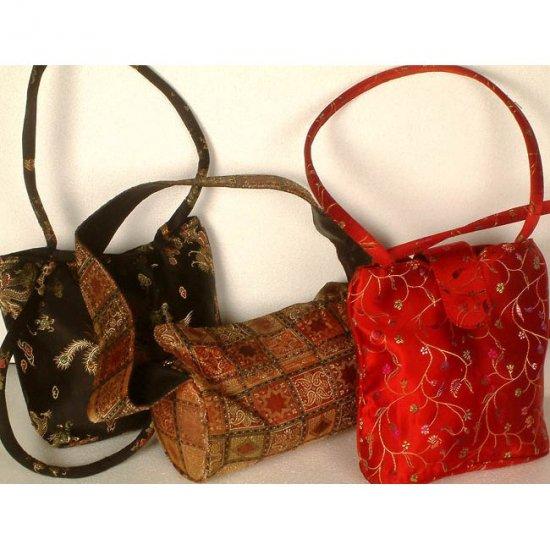 Lot of Three Brocaded Handbags from Banaras