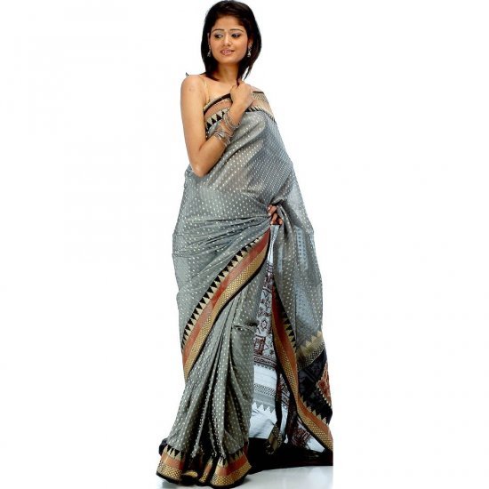 Handwoven Gray Banarasi Sari with Temple Border and All-Over Golden Bootis