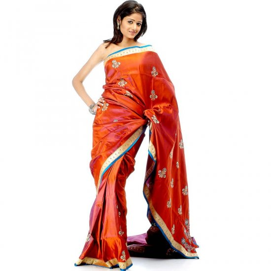 Rust and Purple Banarasi Sari with Brocaded Border and Large Woven Bootis