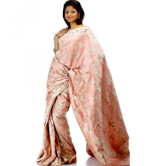 Pink Floral Jamdani Sari Hand-Woven in Banaras