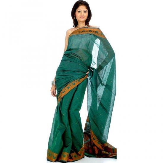 Green Baluchari Sari Hand-Woven in Bengal