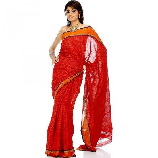 Red and Orange Narayanpet Sari with Fine Checks