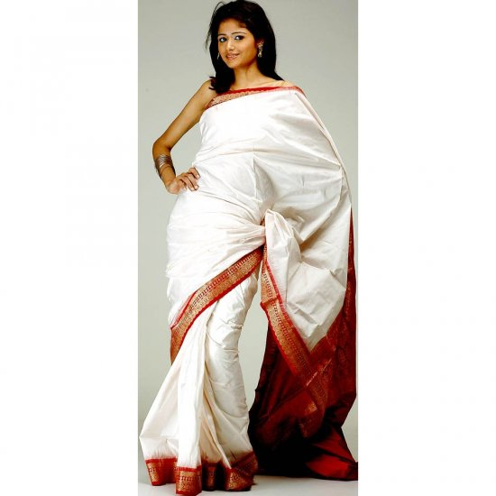 Ivory and Maroon Kanjivaram Sari with Golden Thread Weave on Border and Pallu