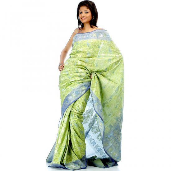 Lime and Blue Densely Woven Jamdani Floral Sari