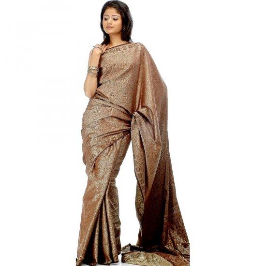 Brown Tanchoi Sari from Banaras with Dense Weave
