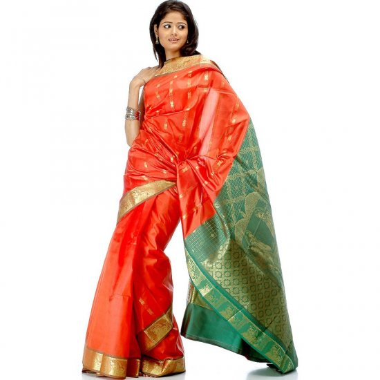 Orange and Green Sari with Yashoda Krishna Woven on Border