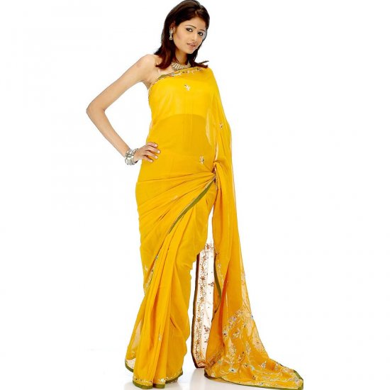 Mustard Sari with Beads and Threadwork