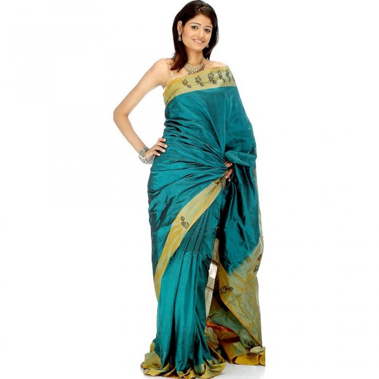 Sea-Green Bangalore Silk Sari with Flowers on Border