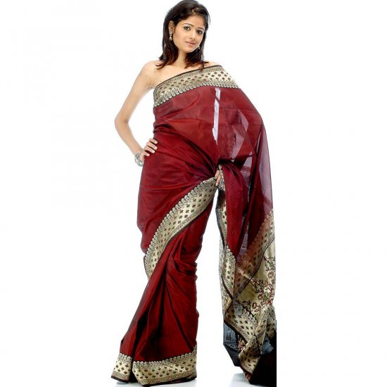 Handwoven Maroon Valkalam Banarasi Sari with Brocaded Border and Anchal
