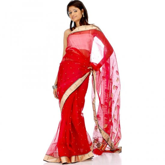 Bridal Red Chanderi Sari with All-Over Golden Bootis