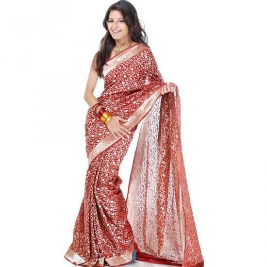Maroon Bridal Banarasi Sari with All-Over Golden Weave