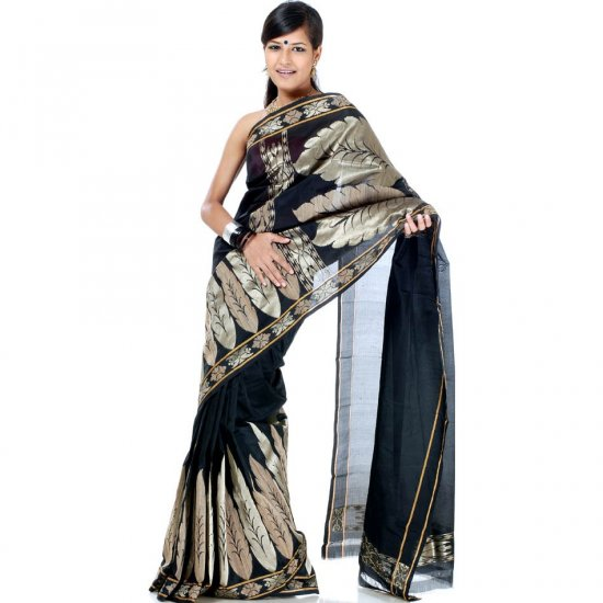 Black Valkalam Sari from Banaras with Khadi Weave