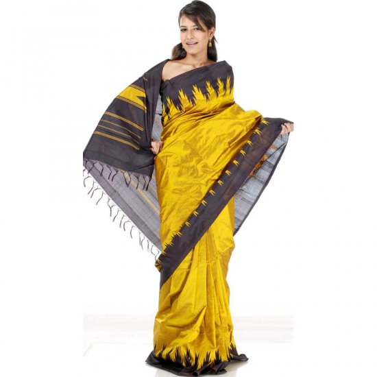 Golden Mustard and Black Temple Sari from Bangalore