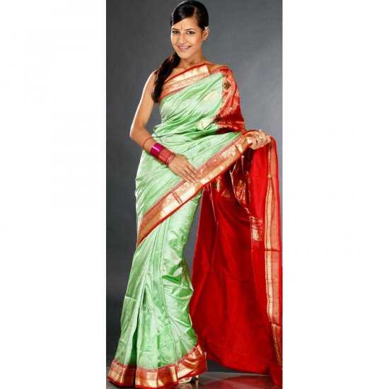Tea Green and Red Kanjivaram Sari with Golden Thread Weave
