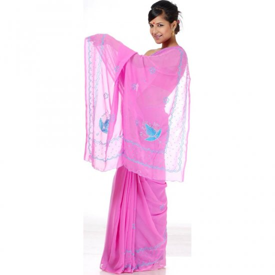 Ultra-Pink Sari with Turquoise Beads and Threadwork