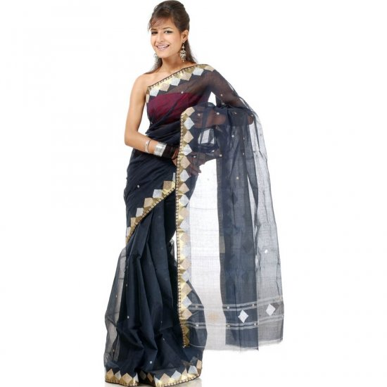 Black Hand-Woven Tengail Sari with Golden and White Thread Weave