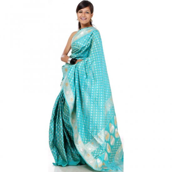 Aqua-Marine Banarasi Sari with All-Over Bootis