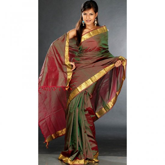 Double Shaded Sari from Bangalore with Golden Brocaded Border