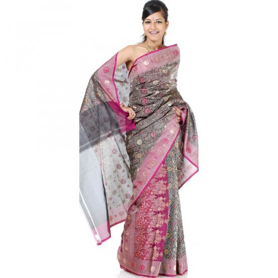 Black and Purple Densely Woven Jamdani Floral Sari