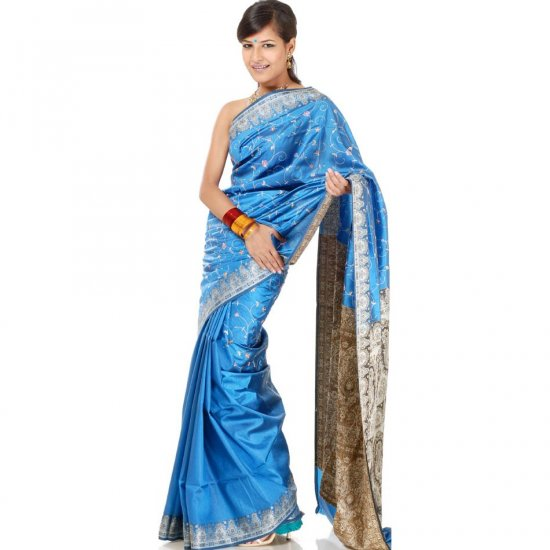Cerulean Banarasi Sari with Embroidery on Anchal