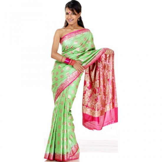 Lime Green and Fuchsia Sari with Painted Bootis and Crystals
