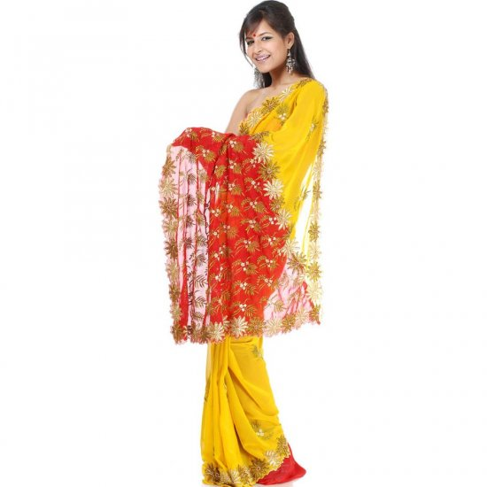 Mustard and Red Designer Sari with Ari Embroidery
