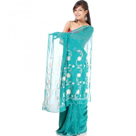 Sea-Green Sari with All-Over Sequins and Beads