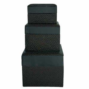 Set of 3 Nested Silk Box - Black