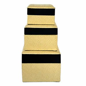 Set of 3 Nested Silk Box - Gold
