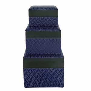 Set of 3 Nested Silk Box - Blue