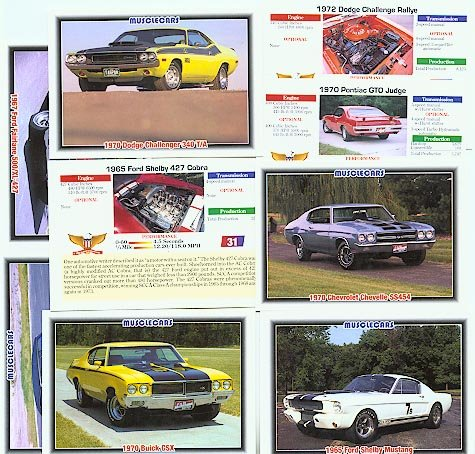 MUSCLECARDS COLLECTOR CAR CARS CARDS MUSCLECARS SET BUICK CHEVY OLDS PONTIAC MUSTANG AMC CORVETTE
