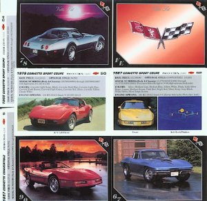 CHEVROLET CHEVY CORVETTES VETTES VETTE SET COLLECTIBLE CAR CARDS NICE COUPE STINGRAY CALLAWAY
