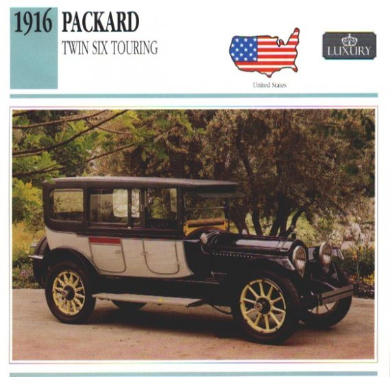 1916 16 PACKARD TWIN SIX TOURING COLLECTOR COLLECTIBLE INFO CARD NICE
