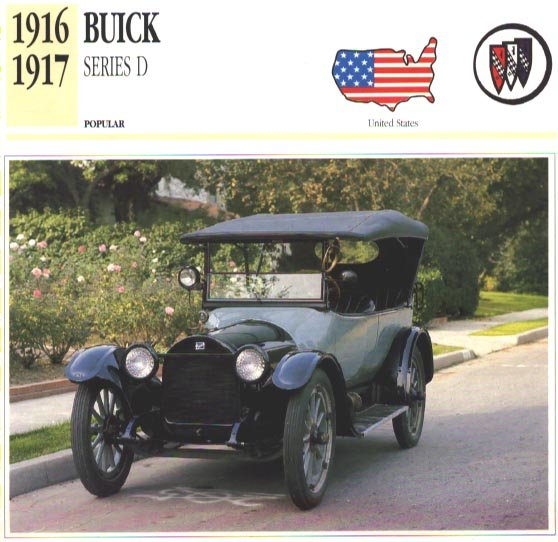 1916 16 BUICK D-45 SERIES D TOURER COLLECTOR COLLECTIBLE INFO CAR CARD NICE