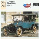 1914 15 16 17 18 19 20 21 22 23 24 1925 MAXWELL MODEL 25 COLLECTIBLE COLLECTOR INFO CARD