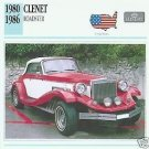 1980 1981 1982 1983 1984 1985 85 1986 86 CLENET ROADSTER COLLECTOR COLLECTIBLE