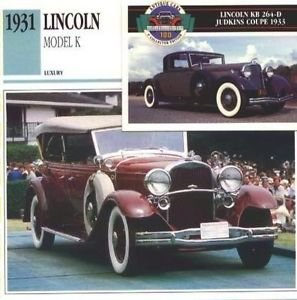 1931 31 LINCOLN MODEL K SPORTS PHAETON COLLECTOR COLLECTIBLE