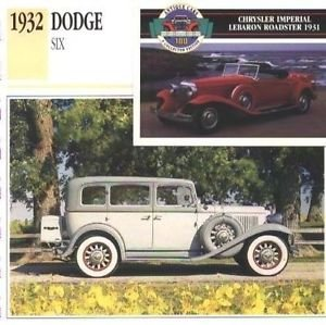 1932 32 DODGE SIX DL SERIES FOUR DOOR SEDAN COLLECTOR COLLECTIBLE