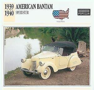 1939 39 1940 40 AMERICAN BANTAM SPEEDSTER COLLECTOR COLLECTIBLE