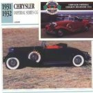 1931 31 CHRYSLER IMPERIAL SERIES CG CUSTOM CONVERTIBLE COLLECTOR COLLECTIBLE
