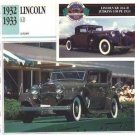 1932 32 1933 33 LINCOLN KB V12 COLLECTOR COLLECTIBLE