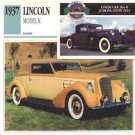 1937 37 LINCOLN MODEL K FIVE PLACE CONVERTIBLE VICTORIA COLLECTOR COLLECTIBLE